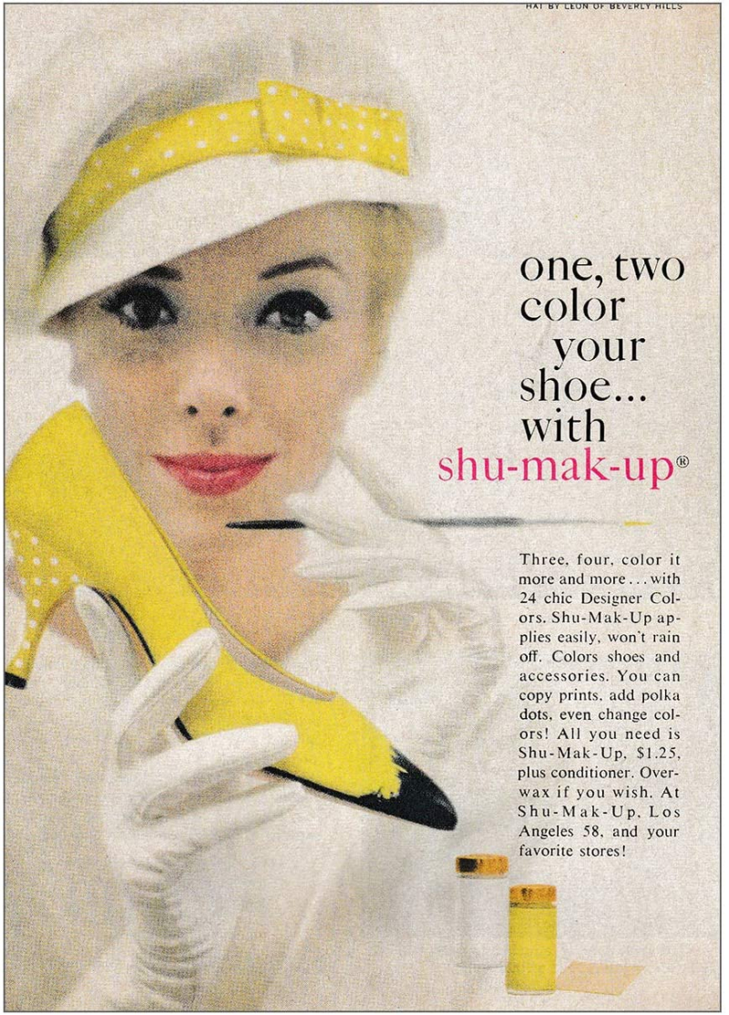 Shu Mak Up Ad crediting Hats by Leon of Beverly Hills Vogue Jan 1 1963 p52