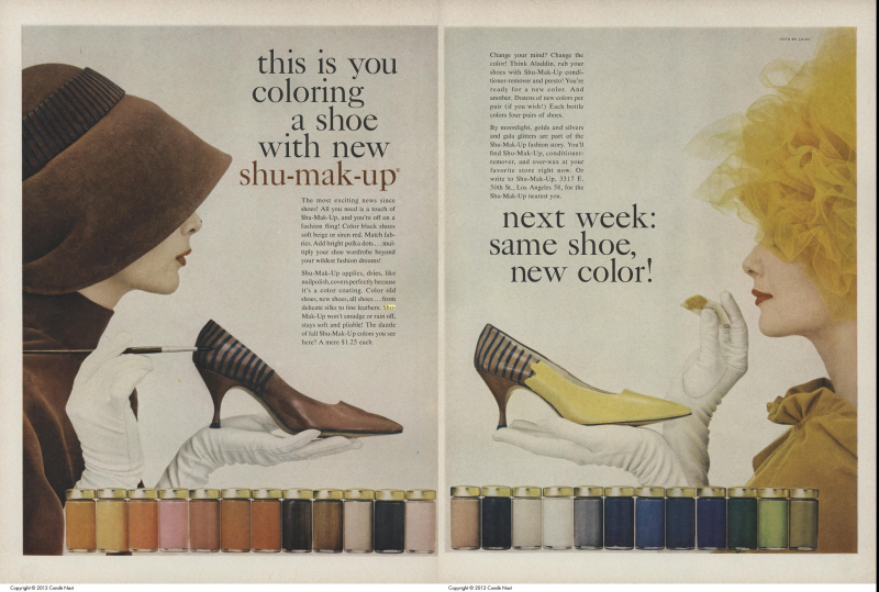 Shu Mak Up ad crediting Hats by Leon Vogue Sep 1 1962 116  117