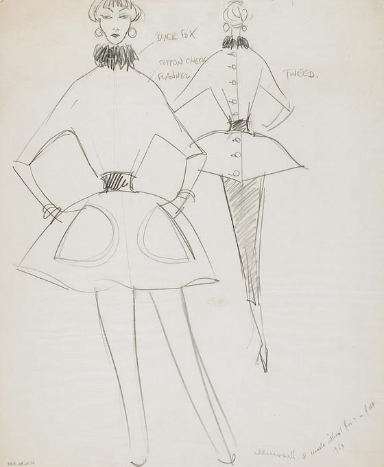 LACMA Untitled Fashion Sketch  1953  M76.86.359 Gift of Mr. Walter R Bass