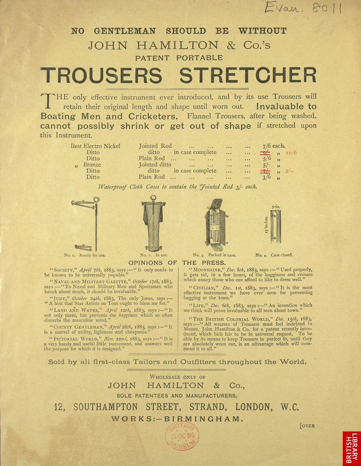 Image 4. Advert For John Hamilton & Co's Trouser Press. Front. The British Library
